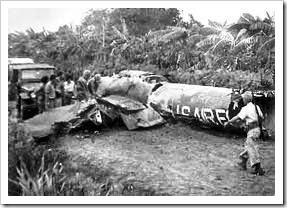 Avión norteamericano derribado en San Cristóbal