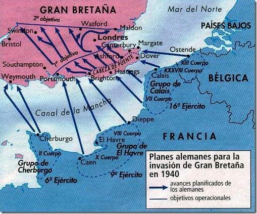 Planes alemanes para la invasión de Gran Bretaña en 1940