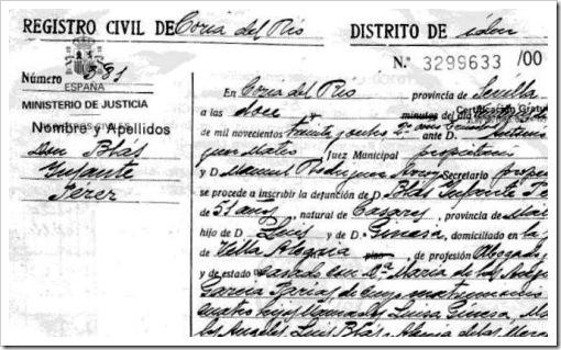 Certificado de defunción de Blas Infante