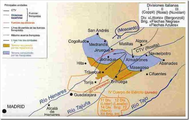 Mapa Batalla de Guadalajara