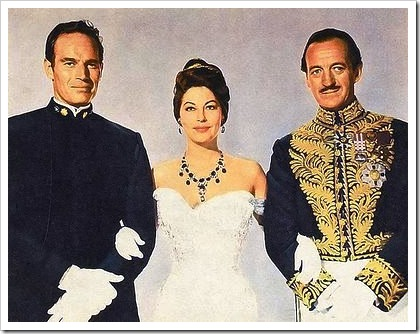 Charlton Heston, Ava Gardner y David Niven